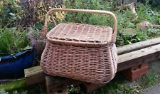 Large vintage wicker basket hamper with handle and lid. Perfect for retro camper