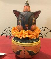 Bethany Lowe Johanna Parker Halloween Howling Bat Candy Container—retired