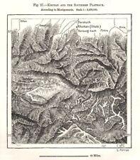 Hotan & Southern plateaux. Kunlun MONTAGNE. Xinjiang, Cina. Schizzo Mappa 1885