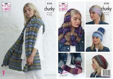 5e26d69a5 King Cole 5153 Knitting Pattern Wrap Hats Snood and Hand Warmers in Riot  Chunky