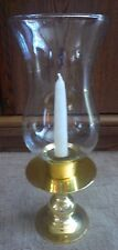 Vintage Solid Brass Candle Holder Lantern Lamp Light & Glass Shade Free Candle