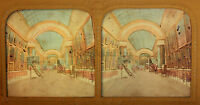 Museo Del Louvre Parigi Stereo Diorama Tessuto Colorati Vintage Albumina Ca 1860