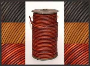 2mm 3mm 4mm & 5mm ROUND ANTIQUED 100% REAL LEATHER CORD  LACE THONG  STRAP  NEW