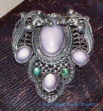 Vintage Antique Art Nouveau Rhinestone Celluloid Silver Fur Clip Estate