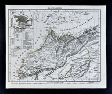 1847 Flemming Map - Morocco Casa Blanco Tangier Marrakesh Fez North Africa