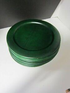 """GREEN WOOD PLATE CHARGERS STUDIO NOVA SET OF 6  11 1/2"""""""