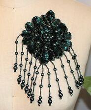 "3.75"" X 7"" Fancy Fringe Bead & Sequin Flower Applique - Green"