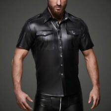 Mens Slim Patent Leather Shirts Short Sleeve Casual Tops Cosplay US L NEW  Zsell