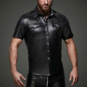 New Mens Lapel Slim PU Leather Shirts Short Sleeve Club Stage Shirt Casual Tops