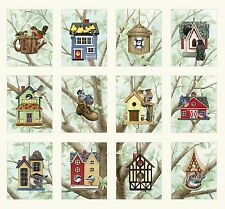 "Fabric Birds in Birdhouses 12 (Squares 4 1/2"" x 6"") 1 Panel 22"" x 22"" Elizabeth"