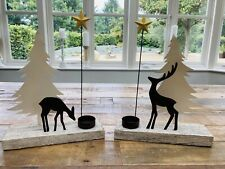 Reindeer Deer Star Tea Light Holder Metal Rustic Wood Decoration SHOELESS JOE