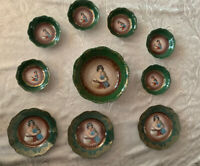 Set Of 10 Vintage Crysantheme Bavaria Porcelain Plates Family Gold Green Blue