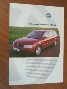 1998 Volkswagen Passat Variant 2.8 V6 Australian single page brochure