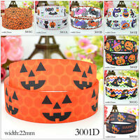 "5 Yards 7/8"" Halloween Grosgrain Ribbon Craft Party Decor Spider Cobwed Pumpkin"