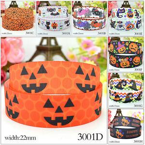 "5 Yards 7/8"" 22mm Disney Halloween Pumpkin Grosgrain Ribbon Craft Party Decor"