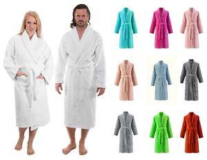 Luxury 100% Egyptian Cotton Terry Towels Unisex Shawl Collar Bathrobe Night Gown