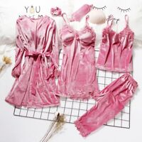 Women Pajamas 3-6 Pcs Gold Velvet Robe Sleepwear Nightgown Embroidery Sleep Pj