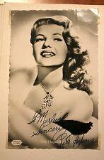 Original Rita Hayworth muy raros autografiada tarjeta firmada