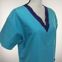 Crest Womens Scrubs Top Size Medium Light Teal Made In The USA