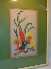 Vtg Mod Embroidery Mushroom Wall Hanging Art Mid century Shabby Chic Crewel