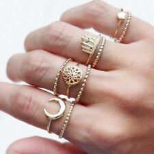 Gold Color Finger Jewelry Heart Dreamcatcher Punk Ring Feather Knuckle Moon