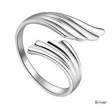 Wedding Opening Adjustable Ring Silver Plated Double Angel Wings