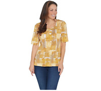 Denim & Co. Perfect Jersey Printed Elbow-Sleeve Scoop-Neck Top Yellow Multi 3X