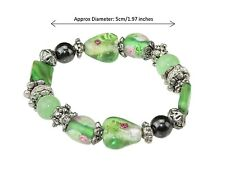 Green Floral Magnetic Hematite Beaded Healing Energy Elastic Stretch Bracelet