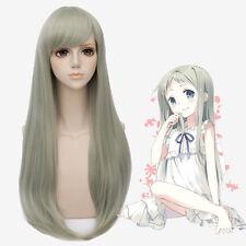 Hot Ano Hana Honma Meiko Long Straight Cosplay 80CM Wig Anime Hair + Free Cap
