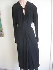 1940s MILGRIMS  BLACK CREPE DRESS KEYHOLE NECK DRAPED DETAIL VINTAGE GLAMOUR