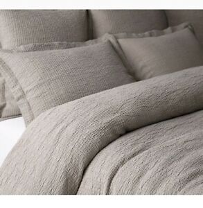 Restoration Hardware Organic Cotton Matelasse Duvet Cover Queen Nickel New!