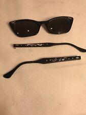 Vtg 1950's Art Craft Cat Eye Sun Glasses Retro Etched Black Frames!