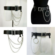 Women Punk PU Leather Harness Belts With Waist Body Hoop Chains Belts Jewelry