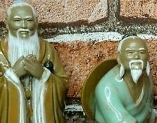 Shiwan Mud Men Figurines Vintage Shiwan Pottery Half Glaze