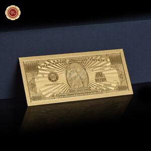 WR Cadeaux de collection de billets de banque en or 24K or USA 1 Million Dollars