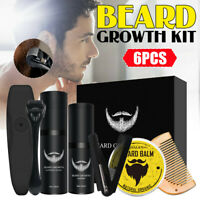 6 Pcs Beard Growth Kit Beard Comb Shaper Roller Activator Serum Oli Blam Set AU
