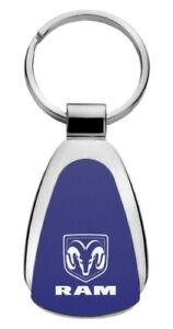 Authentic Dodge Ram Blue Logo Metal Chrome Tear Drop Key Chain Ring Fob