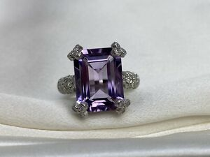Judith Ripka S.S. Faceted Rectangle Amethyst Purple & Cubic Zirconia Ring