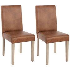 Lot de 2 chaises de séjour Littau ~ tissu, aspect daim, aspect chaîne des pieds
