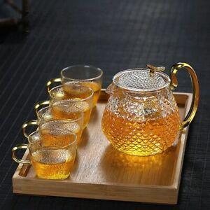 Honeycomb Inspired Tea Set high Temperature Resistance Tea Pot With Glass Cups