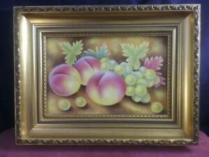Framed Porcelain Plaque  Hand Painted Fruit Signed Ex  Royal Worcester Leaman