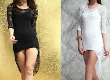 Lace Stretch, Bodycon Scoop Neck Regular Dresses for Women
