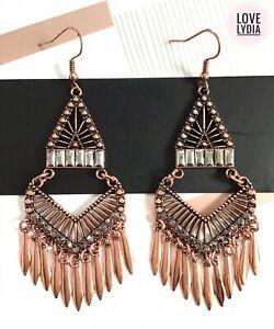 NEW rose gold tone faux marcasite chandelier boho festival drop dangle earrings