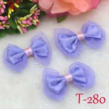 5PCS DIY Purple Dotted Lace bow Satin Ribbon Appliques Wedding festival Bowknot