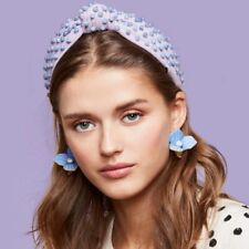 Lele Sadoughi Purple Woven Beaded Headband - Blue Lace Agate