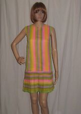 VTG 60s MOD mini dress PLEATED SHIFT striped GO GO xsmall