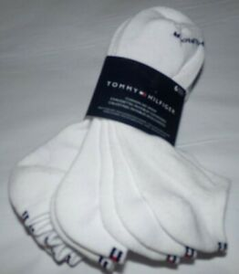 NWT MENS TOMMY HILFIGER SPORT SOCKS~6 PAIRS~WHITE WITH FLAG