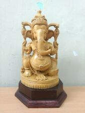 Ganesha Sculpture Hindu God Ganesh Statue Cedar Wood Temple Figurine Idol Decor