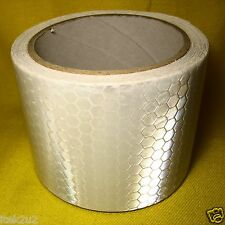 Reflective Safety Warning Tape White Adhesive 50mm x 3m Roll Hi-Vis Marking Auto