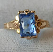 Antique Ostby Barton 10K Gold Ring Sapphire Blue Gemstone Sz 2.5 Art Deco Pinky